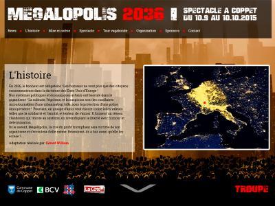 """Réalisation du site internet du spectacle """"Megalopolis 2036"""""""